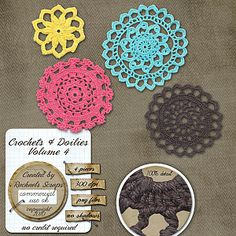 Crochets & Doilies, Volume 4 digital graphic files with transparent backgrounds- commercial use for digital scrapbooking, web design, etc.