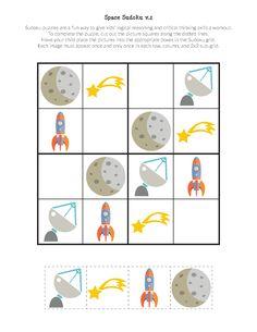 imprimibles Espacio Sudoku Puzzles gratis para el espacio de los niños en edad preescolar amar a segundo grado. Qué gran manera de estimular el pensamiento crítico! || Don de la curiosidad