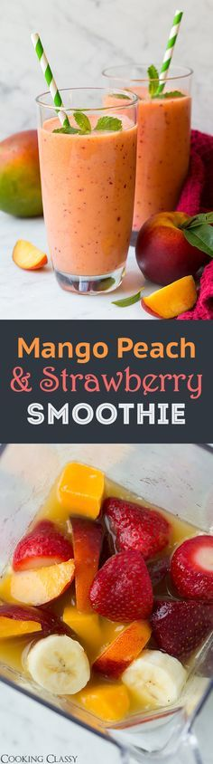 green smoothies good for you? Mango Peach and Strawberry Smoothie - SO refreshing! Loved this smoothie so did my kids!Mango Peach and Strawberry Smoothie - SO refreshing! Loved this smoothie so did my kids! Yummy Drinks, Healthy Drinks, Healthy Snacks, Yummy Food, Healthy Recipes, Whole30 Recipes, Vegetarian Recipes, Healthy Eating, Fruit Drinks