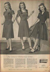 1940s Dresses, Vintage Dresses, Vintage Outfits, Vintage Clothing, Vintage Fashion 1950s, Vintage Ads, Estilo Pin Up, 20th Century Fashion, Rockabilly Fashion