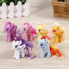 8CM my rainbow horse toys decoration PVC Figures poni Kids Doll colourful model girl's gift free 1pc poni stickers