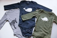 DIY Freezer Paper Stenciled Onesies |