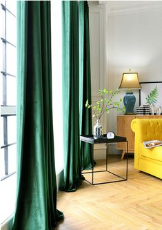 Pair of Velvet Curtains in Emerald Green, Custom Curtains Velvet Curtains Bedroom, Living Room Decor Curtains, Luxury Curtains, Custom Curtains, Velvet Drapes, Vintage Curtains, Kitchen Curtains, High Curtains, Lounge Curtains