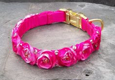 Pink Ribbon Roses and Swarovski Crystals Handmade Dog Collar by ZoePepper, $139.00 Nice rim mount crystals mean they won't fall off the way the glued ones can. And won't your dog look stunning? Handmade Dog Collars, Handmade Gifts, Luxury Dog Collars, Dogs Of The World, Dog Accessories, Dog Bed, Swarovski Crystals, Diva, Roses