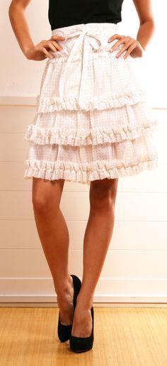 Tuleh White Silk A-Line Skirt with Black polka dots