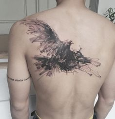 Chinese ink painting style bird tattoo - Powerful and freedom. This bird tattoo speaks loudly these two words. The Chinese ink painting style only adds life to the design.