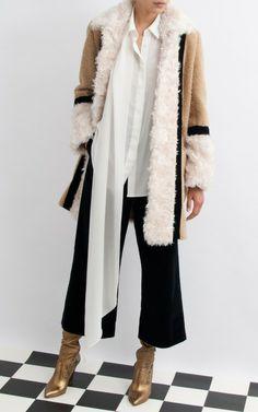 Short Patchwork Coat With Velvet Trim by Isa Arfen - Moda Operandi