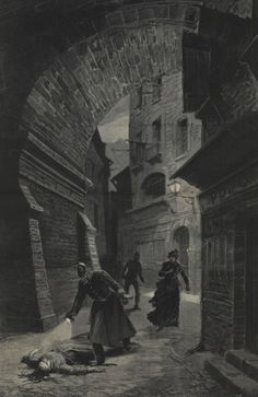 A policeman discovers one of Jack the Ripper's victims in the East End. This image appeared in Le Journal Illustré on 13 February 1891 (Museum in Docklands)