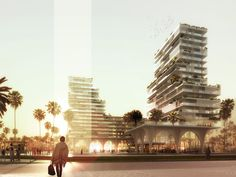 Image 5 of 10 from gallery of Hamonic+Masson & Associés Envisions a New Casablanca When Redesigning its Financial District. Photograph by Hamonic + Masson Architecture Concept Diagram, Brick Architecture, Architecture Visualization, Amazing Architecture, 3d Visualization, Cgi, Villas, B720, Architects
