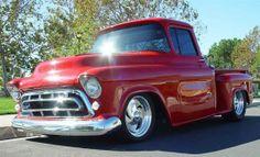 vintage shiny red Chevrolet Truck