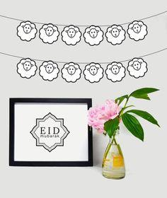 Eid al Adha Garland - Eid Garland - Sheep Garland - DIY Garland Money Envelopes, Card Envelopes, Aid Adha Moubarak, Diy Eid Decorations, Eid Mubarak Banner, Sheep Crafts, Eid Party, Mom Cake, Happy Eid