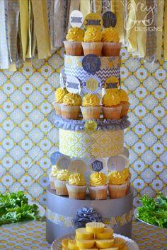 boy's yellow and grey baby shower cupcakes www.spaceshipsandlaserbeams.com