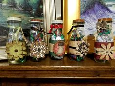 Cute little decorated milk bottles filled with holiday candies ... perfect for gift giving at $10 Each!