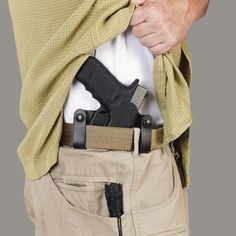 The inside-the-waistband (IWB) option reduces visibility of concealed carry holsters.