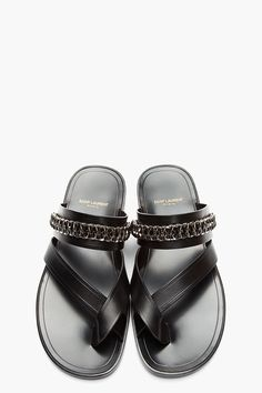 Saint Laurent Black Leather Chain-Embellished Sandals, sold out. Shoes Wedges Boots, Wedge Shoes, Shoe Boots, Leather Men, Black Leather, Leather Chain, Fly Shoes, Men's Shoes, Leather Sandals
