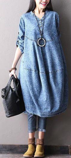 Plus Size Women Loose Solid Long Sleeve Denim Dress