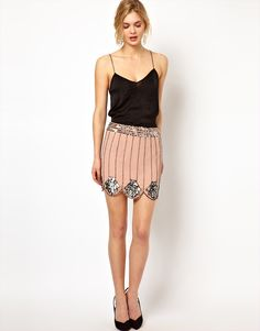 Scallop Edge Skirt with Sequin Embellishment