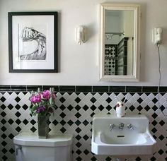 """We love the beautiful vintage fixtures in this bathroom, plus the tiles that round out the look. You can get a similar look with an American Standard """"Retrospect"""" pedestal sink."""