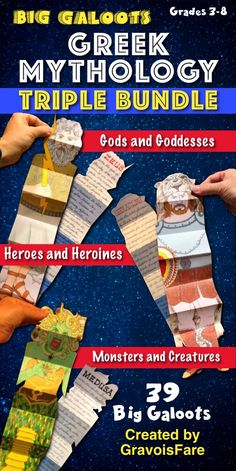 Students will love writing about 39 figures from Greek mythology: --GODS AND GODDESSES including Apollo, Athena, Hera, Poseidon, and Zeus --HEROES AND HEROINES including Achilles, Andromeda, Heracles, Pandora, and Perseus --MONSTERS AND CREATURES including Cyclops, Medusa, Minotaur, Pegasus, and Sphinx Choose from 39 Ready-to-Go, Easy-to-Color BIG GALOOT templates that students will color, cut, and create! Easy-to-Follow directions include photos of each step. Perfect for the creative…