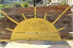 """Sun painted on repurposed wood.... """"you are my sunshine"""""""