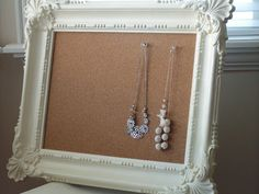 Old picture frame turned into a jewelry organizer -- from Tea Rose Home.
