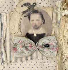 MIXED-MEDIA-FABRIC-COLLAGE-BOOK-OF-LITTLE-GIRLS-IN-BLUE-TOILE-AND-TICKING-FABRIC