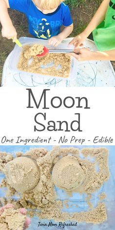 Toddler Moon Sand Sensory Play Activity.  This one ingredient kinetic sand recipe is edible and taste safe so it's perfect for babies, toddlers, and young kids!  A fun sensory activity for a one-year-old, 2-year-old, and up!  #moonsand #kineticsand #sensoryplay #sensoybins #activitiesfor2yearolds