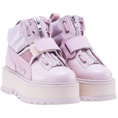 Puma Fenty by Rihanna Platform Lace Up Boots ($250) ❤ liked on Polyvore featuring shoes, boots, pink, womenshoes, puma boots, puma shoes, pink boots, platform shoes and laced boots