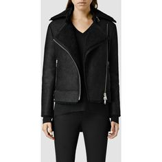 AllSaints Ashton Shearling Biker Jacket ($1,448) ❤ liked on Polyvore featuring outerwear, jackets, black, black biker jacket, motorcycle jacket, moto jacket, shearling jacket and shearling biker jacket