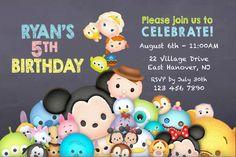 DIY PRINT invitation, Tsum Tsum invite, Tsum tsum party invitation, disney tsum…