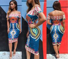 Off Shoulder High-waist Slim Print Mid-Calf Dress