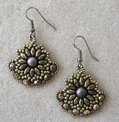 Linda's Crafty Inspirations: Dana's Gypsy Earrings - Antique Silver & Mauve