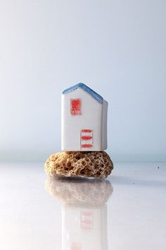 Summer Beach house - Handmade ceramic miniature, White house in white blue and coral, Little clay house, Miniature sculpture art