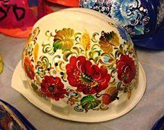 """Petrykivskyi"" painting on helmet/ ukraine.revolution"