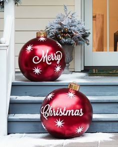Dorable Outdoor Decoration Beauty Christmas Diy Outdoor Merry Christmas Ornaments Set Of 2 Beach Balls Giant Christmas Balls For The Porch Outside Christmas Decorations, Beautiful Christmas Decorations, Christmas Porch, Farmhouse Christmas Decor, Noel Christmas, Simple Christmas, Outdoor Decorations, Christmas Crafts, Christmas Ideas