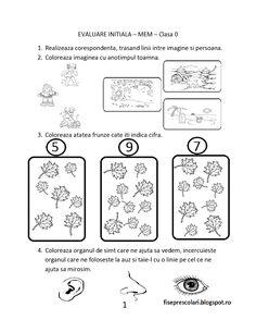 FISE de evaluare initiala MEM (Matematica si explorarea mediului) - Clasa Pregatitoare | Fise de lucru - gradinita Kids Math Worksheets, Math 2, Math For Kids, Free Printables, Meme, Bullet Journal, Teaching, School, Children