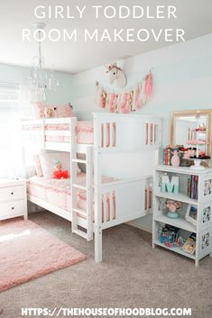 Our big girls bedroom update! Complete with bunk beds and new pink bedding by Beddy's Beds. Pink accents, tassels, aqua stripes, and a chandelier. Super simple changes make a huge transformation! #childrensdecor #kidsbedroom #girlsbedroom #tassels #unicorns #chandelier #shabbychic #goldaccents #bedroomdecor