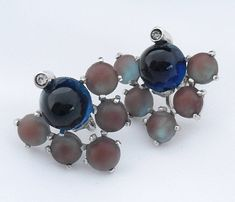Antique Saphiret Earrings Sterling Silver Screw Backs Art Deco Saphiret Glass Jewelry