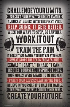 """Fitness gym motivational """"challenge your limits"""" inspirational quotes wall poster - trends Month Workout Challenge, Workout Schedule, Gym Workouts, At Home Workouts, Challenge Quotes, 30 Day Challenge, Workout Plans, Froning Crossfit, Mantra"""