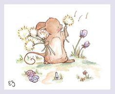 Children Art Print. Mouse Wishing. PRINT 8X10. by LoxlyHollow