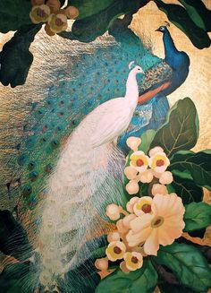Asian Wallpaper, Wall Wallpaper, Beautiful Artwork, Beautiful Birds, Peacock Pictures, Peacock Painting, Bird Embroidery, Bird Artwork, Japan Art