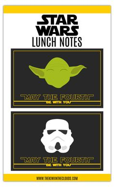 These FREE Star Wars printable lunch notes are perfect to put in your Little Jedi's lunch box to celebrate  May the 4th