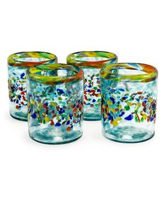 Look what I found on #zulily! Aqua del Sol Recycled Glass Tumbler - Set of Four by Bambeco #zulilyfinds