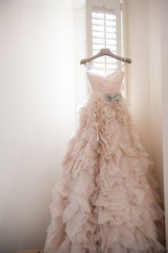Blush Long Ruffle Wedding Dress Featuring Spaghetti Straps