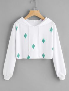 Cactus Print Hooded Crop Sweatshirt - Sweat Shirt - Ideas of Sweat Shirt - Cactus Print Hooded Crop Sweatshirt Girls Fashion Clothes, Teen Fashion Outfits, Mode Outfits, Fashion Women, Fashion Styles, Tween Fashion, Clothes Women, Girl Fashion, Teenage Outfits