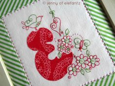 """The """"Rosedaisy Alphabet"""" is a set of 26 stitcheries featuring simple back stitch, running stitch and applique. Each block fits inside a 5"""" square.  http://www.elefantz.com/2014/03/giveaway-rosedaisy-alphabet.html"""