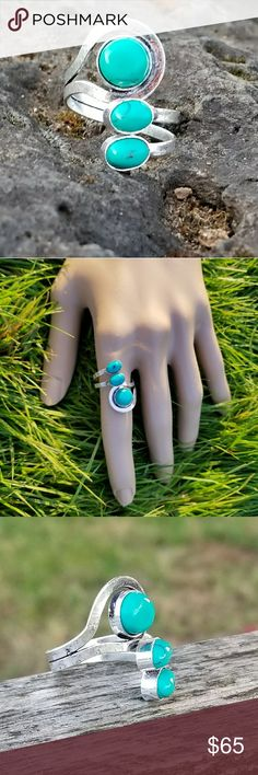 NEW! Turquoise ring Trilogy of turquoise and 925 Sterling silver,  size 7.5 NWOT Robin's Nest Jewels Jewelry Rings