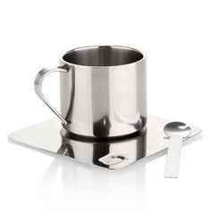 Stainless Steel Double-Walled Coffee Mug - Saucer and Tea Spoon