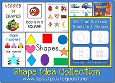 Collection of printables and ideas for teaching about shapes, from 1+1+1=1