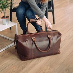 52349bb633 Leather weekender Bag holdall duffel overnight cabin luggage travel bag for  men and women - Niche Lane Aviator